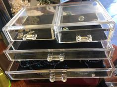 Cosmetic Organiser With 4 Drawers Acrylic