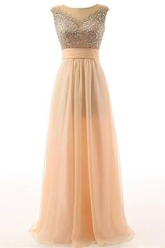 Long Beaded Prom Dress,A-line Open BackEvening Dress, Elegant Prom Dresses