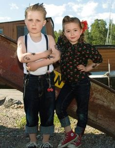 Adorable flower girl and ring bearer for a retro rockabilly wedding