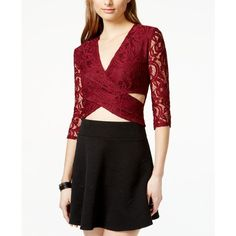 Material Girl Juniors' Lace Cutout Cropped Top ($30) ❤ liked on Polyvore featuring tops, zinfandel, cutout tops, lacy tops, night out tops, lace top and going out crop tops