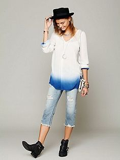 Free People Clothing Boutique > Dip Dye Long Sleeve Tunic