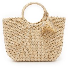 Hat Attack Round Handle Tote (124,740 KRW) ❤ liked on Polyvore featuring bags, handbags, tote bags, purses, beach bag, hand bags, woven straw tote, straw tote bags, beach tote bags and straw beach tote