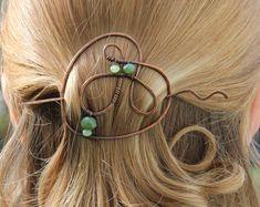 Copper, hair pin, wire, hair clip, beaded, barrette, metal, hair slide, brooch, shawl pin, scarf pin, green, hair accessories,