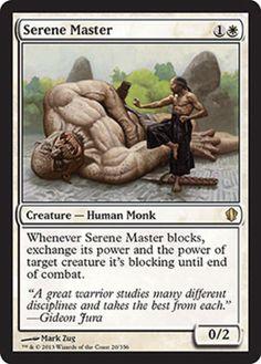 Serene Master mtg Magic the Gathering Commander 2013 white rare monk card