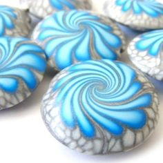 Polymer Clay Beads Swirl Beads Lentil in Turquoise and Silver - Set of 7 by juliepsaling