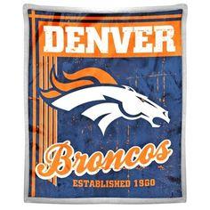 """Denver Broncos 50"""" x 60"""" Old School Mink Sherpa Plush Blanket"""