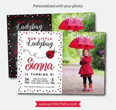 Ladybug Invitation with photo Ladybug Birthday Party