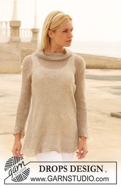 "Knitted DROPS tunic with turtle neck in ""Lin"". Size S - XXXL. ~ DROPS Design"