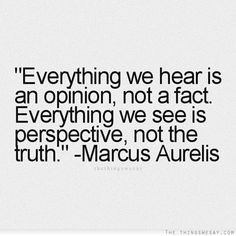 Everything we hear is an opinion, not a fact. Everything we see is perspective, not the truth. ~Marcus Aurelius.