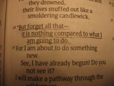 """""""Forget all of that!"""" Isaiah 43:18  """"Look around and be distressed. Look within and be depressed. Look to Jesus and be at rest.""""   God's word encourages me, I need to stop having a pity party and do something great for God To stop thinking and talking about how big my mountain is and to begin to think and talk about how big my God Is. I can tell you with all certainty that faith turns the head of God and moves the hand of God. I've seen it happen again and again in my life."""