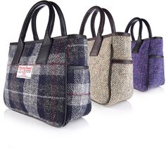 Harris Tweed Bags and more from Bracken Online. Just like the purse I bought in Scotland at McNaughtons of Pitlochry. Now I can get another if mine ever wears out. Harris Tweed, Diy Bags Purses, Quilted Bag, Fabric Bags, Tote Purse, Handmade Bags, Fashion Bags, Tartan, Plaid