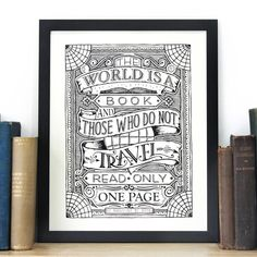 'The World Is A Book' Typographic Screen Print