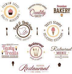 Logo design restaurant bakery set vector