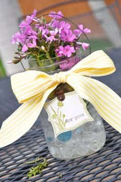 Wildflower Mason Jar Vase tutorial by Little Birdie Secrets - very easy #MothersDaygiftidea