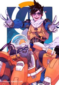 """libaibaibai: """" new skins """" While maybe not my favorite skins, these two are awesome! The Winston scuba skins are so cool looking and Tracer is always adorable. Fantastic art from libaibaibai, thank..."""