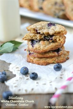 Blueberry White Chocolate Chunk Oatmeal Cookies by @Lauren Brennan - Lauren's Latest