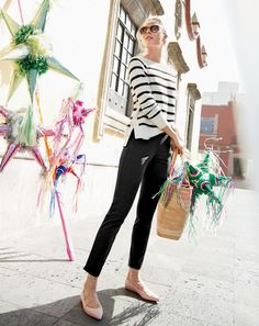 J.Crew women's striped crewneck sweater with side snaps, Martie pant in bi-stretch cotton, Ryan sunglasses and leather lace-up ballet flats.