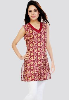 This Sleeve Less Printed Maroon Kurti - Mksp is extremely comfortable and stylish. Purchase this awesome 19 color product. You can search this Sleeve Less Printed Maroon Kurti - Mksp in future on our site by its sku code: AR271WA38TGBINDFAS and order this item any time.