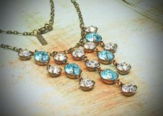 Vintage Rhinestone Necklace, Wedding, Blue, Aquamarine, Jewelry by rewelliott on Etsy