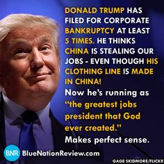 Makes perfect sense to Donald.  When he drives the country into outrageous debt, he will just declare bankruptcy.