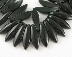 10 x perle feuille Noir 19x5mm, en Verre, Forme feuille -- PVE-0092.M : Perles en Verre par crehando