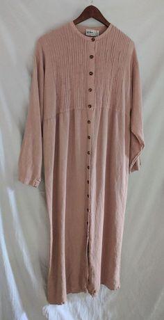 938ce2f209b5 Kiko 100% Linen Hemp Flax Maxi dress w Pintucks  amp  Tortoise Buttons sz