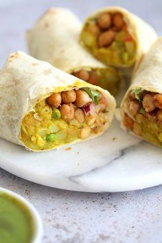 Samosa Wraps - Spiced Potato Chickpea Chutney Burrito - Most Popular Vegan Recipes! Veggie Recipes, Indian Food Recipes, Gourmet Recipes, Whole Food Recipes, Vegetarian Recipes, Cooking Recipes, Healthy Recipes, Vegetarian Dinners, Vegetarian Burrito