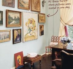 all paintings, different frames, different sizes. Not too many small things.