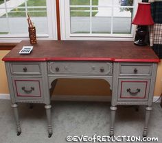 Check out EVE of Reduction's antique desk makeover and video on how to repurpose an antique desk. So many ideas for any room in the house!