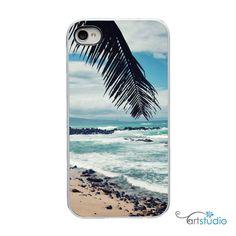 Beach Sand Ocean Sea Scene White or Black Sides iPhone Case - IPhone 4, 4s, 5 Hard Cover - Fun Bright Art Unique Trendy - artstudio54