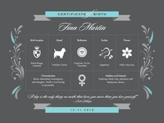 Dog Birth Certificate Template Puppy birth certificates | C&J's ...