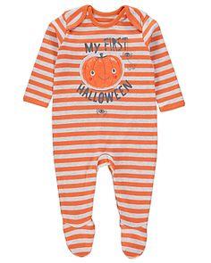 Halloween Striped Pumpkin Sleepsuit