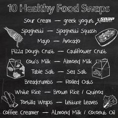 Heres 10 healthy food swaps for you to start incorporating in to your life! Super easy  delicious alternatives! Healthy foods you should be eating!