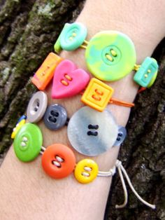 Button bracelets A great craft for older kids to do solo, and fun for little ones with some help with the knotting. The colour and shape possibilities are endless.