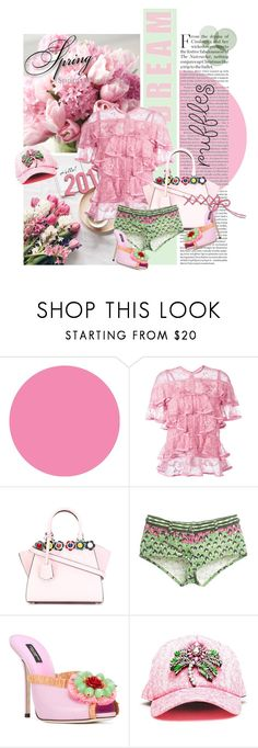 """""""Add Some Flair: Ruffled Tops"""" by lacas ❤ liked on Polyvore featuring Wall Pops!, Elie Saab, Fendi, Roberto Cavalli, Dolce&Gabbana, Shourouk, ruffles and ruffledtops"""