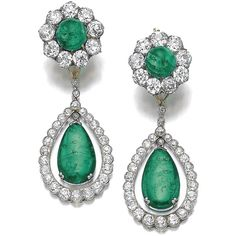 Pair of emerald and diamond earrings, late 19th century and later |... ❤ liked on Polyvore featuring jewelry, earrings, diamond earrings, emerald earrings, emerald jewelry, emerald jewellery and emerald diamond jewelry