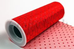 """Glitter Dot Tulle 6"""" x 10 Yards - Red"""