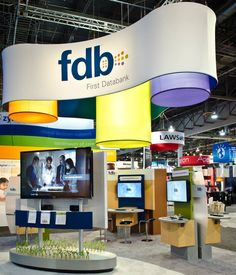 MG Design created this 20' x 20' tradeshow booth that made sure First Databank's new brand and message stood out.  The open environment helped to reflect how FDB transforms drug information into powerful healthcare solutions.   In comparison to other shows, the exhibit spaces are very large and the airspace at this is very active, with a lot of overhead structures and hanging signage above the show floor.  MG Design: Trade Show Exhibits, Events, Environments, Experiences. www.mgdesign.com
