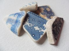 5 very pretty blue and white patterned english beach find pieces - lancashire UK sea pottery.  Tape measure included in the pictures to show accurate size.  I love to collect sea glass on beaches around the coastline of the UK - I hope you will enjoy your visit to my etsy shop and maybe find that special piece youve been looking for for your project or collection :-)