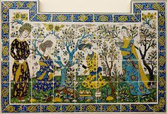 a Century Persian panel of tiles in shades of blue and yellow showing people enjoying themselves outside in a setting of blooming plants and trees Blue Color Combinations, Home Design 2017, Persian Garden, Paradise Garden, Persian Motifs, China Painting, Tile Painting, Blooming Plants, Mosaic Patterns