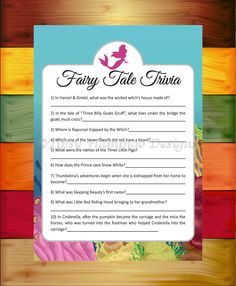 Baby Shower Game, Fairy Tale Trivia, Shower Game, Mermaid, Under The Sea Theme, Printable, Instant Download - TFD373 by TipsyFlamingoDesigns on Etsy