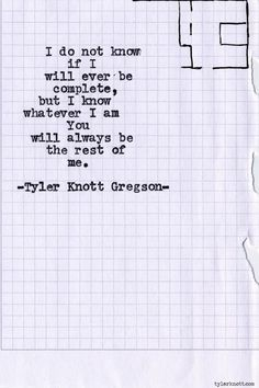 You are the rest of me...