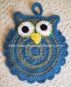 patrones de los buhos Owl Crochet Pattern Free, Crochet Potholder Patterns, Crochet Placemats, Crochet Dishcloths, Crochet Doilies, Crochet Flowers, Crochet Owl Pillows, Crochet Owls, Cute Crochet