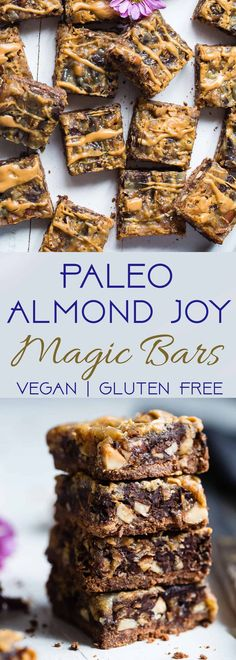 Almond Joy Gluten Free Magic Cookie Bars - These paleo and vegan friendly magic cookie bars taste like an almond joy! They're an easy healthier spin on a classic treat that you'll never believe is gluten/grain/dairy and refined sugar free! Gluten Free Recipes For Dinner, Gluten Free Desserts, Dairy Free Recipes, Vegan Desserts, Vegan Recipes, Alkaline Recipes, Vegan Meals, Healthy Dessert Recipes, Healthy Desserts