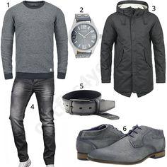 Lässiger Herrenstyle mit grauem Blend Pullover, Oozoo Armbanduhr, gefüttertem Herren-Wintermantel, Ledergürtel, Bugatti Schuhen und A. Salvarini Jeans.