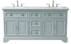 Sadie Double Vanity, Antique Blue farmhouse-bathroom-vanities-and-sink-consoles--also comes in white.  From Home Decorators