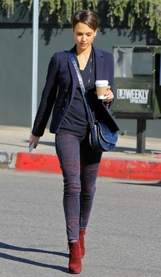 Jessica #Alba- navy #blazer and ankle boots