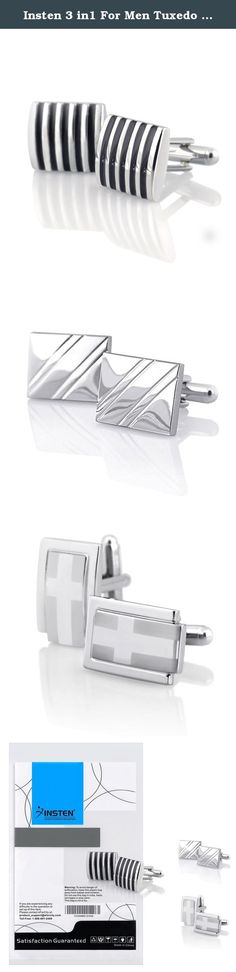 Insten 3 in1 For Men Tuxedo Diagonal Ribbed+Black Stripe+Silver Rectangle Cufflinks. The First one will definitely add a modern and stylish accent to your attire. Bowed front, rhodium plated with vertical black stripes, these cufflinks ensure to give every man the perfect touch of elegance for their tuxedo. Be impressive for both formal and informal occasions. Prepare for the simple yet stylish look you will appreciate. Size: 16 x 15 mm. The second one is simply sophisticated. Rhodium…