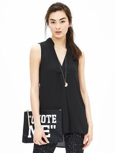 Notched Sleeveless Popover Blouse