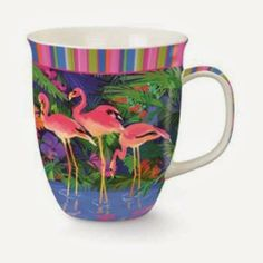 Pink Flamingos in Tropical Paradise Coffee Latte Tea 16 oz Mug Cup by Cape Shore: The pretty pink flamingo design and eye-catching tropical colors of this coffee mug make it the perfect gift for any pink flamingo lover.